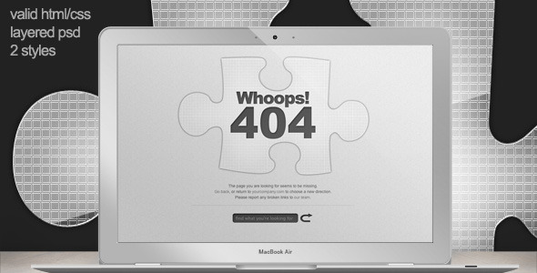 ThemeForest Custom 404 Error Page Missing Jigsaw Piece 231812