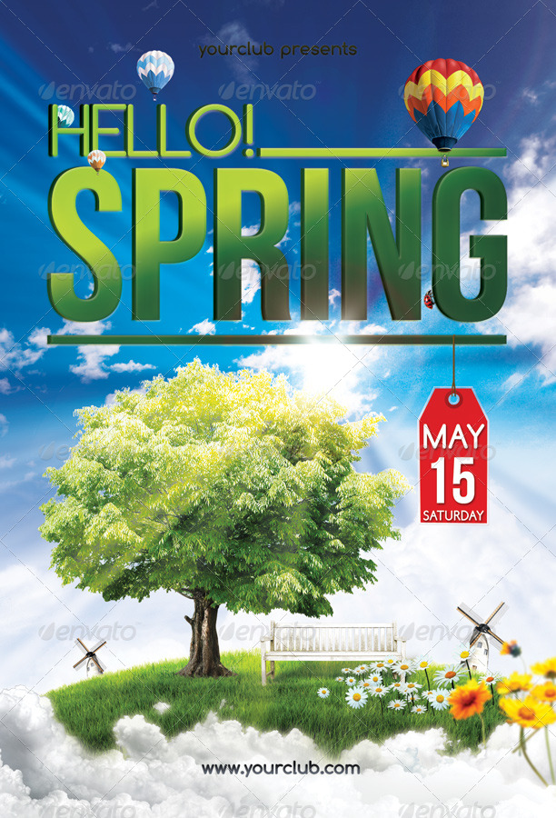 Spring Party Flyer Hello Spring by isoarts – Spring Party Flyer