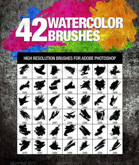 GraphicRiver 42 Watercolor Brushes 232167