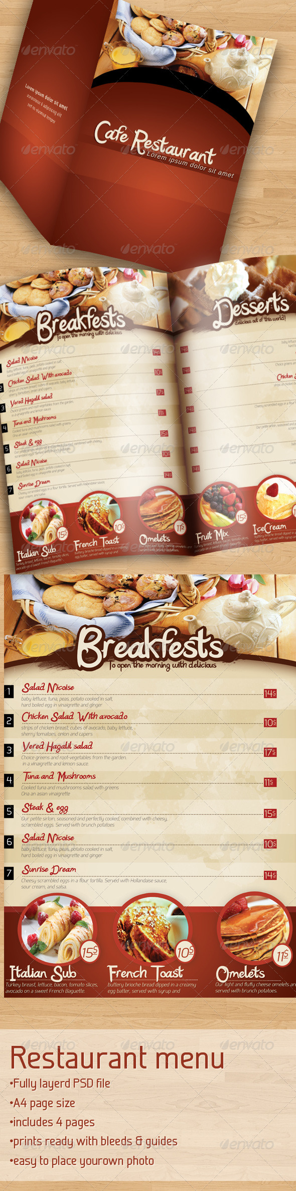 Cafe Restaurant Menu - Food Menus Print Templates