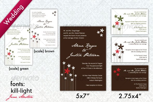 GraphicRiver Brown & White Modern Wedding Invitation 73107