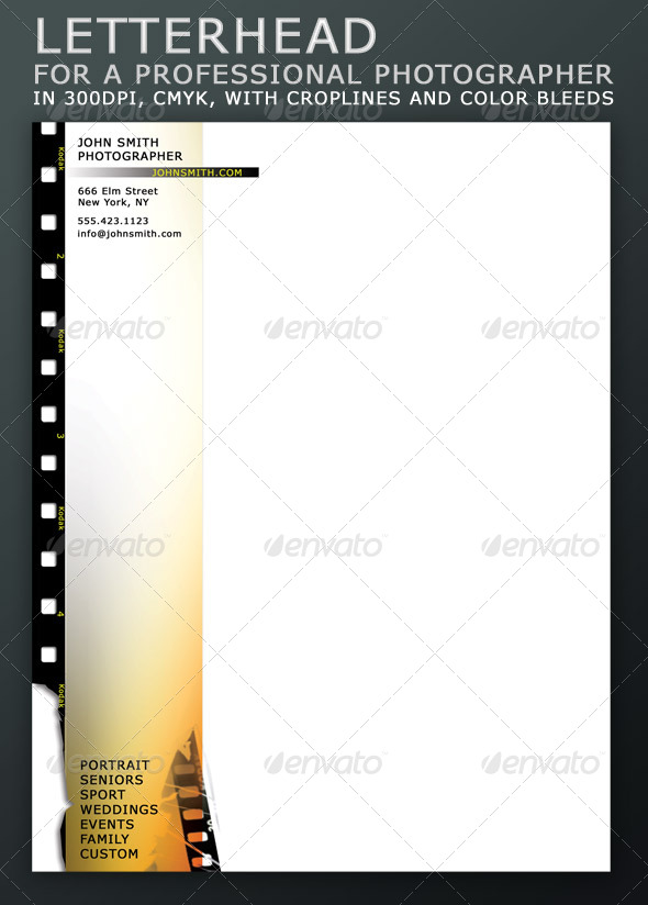Letterhead for a Professional Photographer - Stationery Print Templates