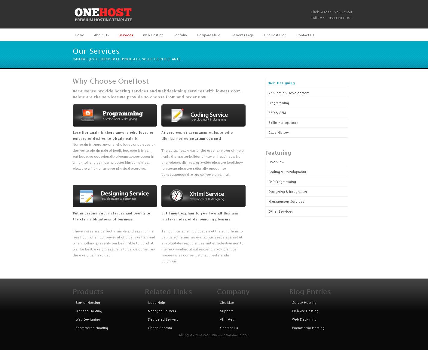 OneHost Preimum Hosting + Portfolio Template
