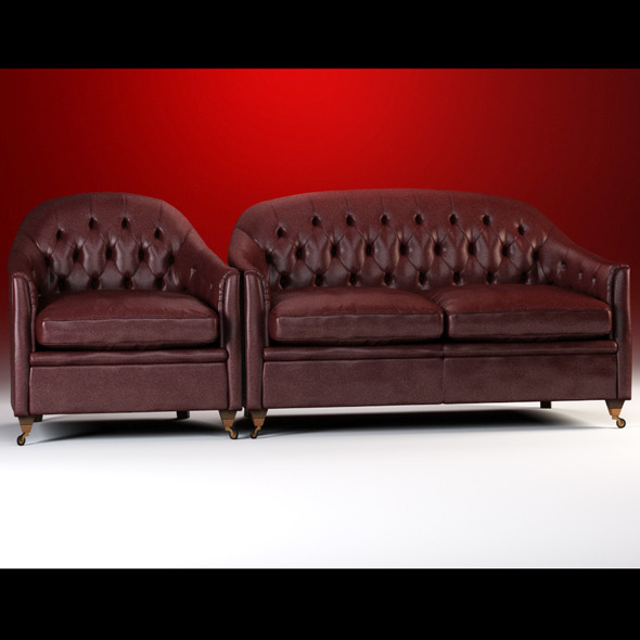 Quality 3dmodel of classic sofa & armchair Origgi - 3DOcean Item for Sale