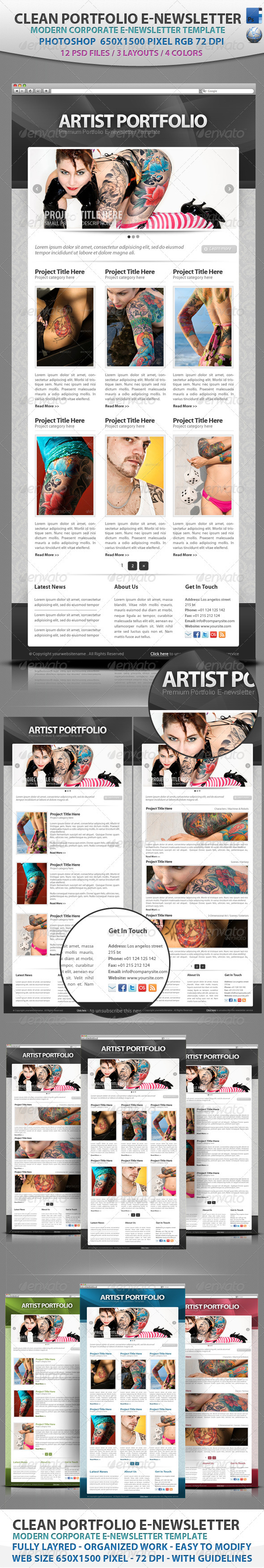 Graphic River Clean Portfolio E-newsletter Template Web Elements -  E-newsletters 1970084