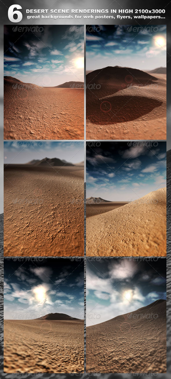 6 Desert Scenes in 2100x3000 rendered