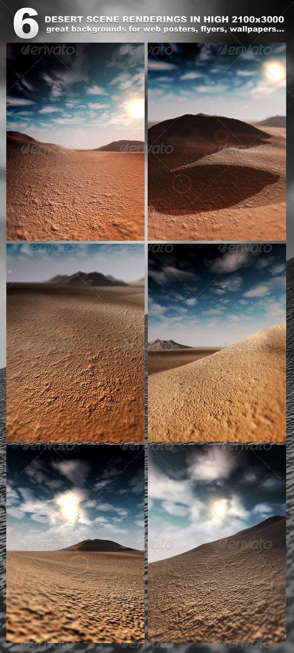 6 Desert Scenes in 2100x3000 rendered