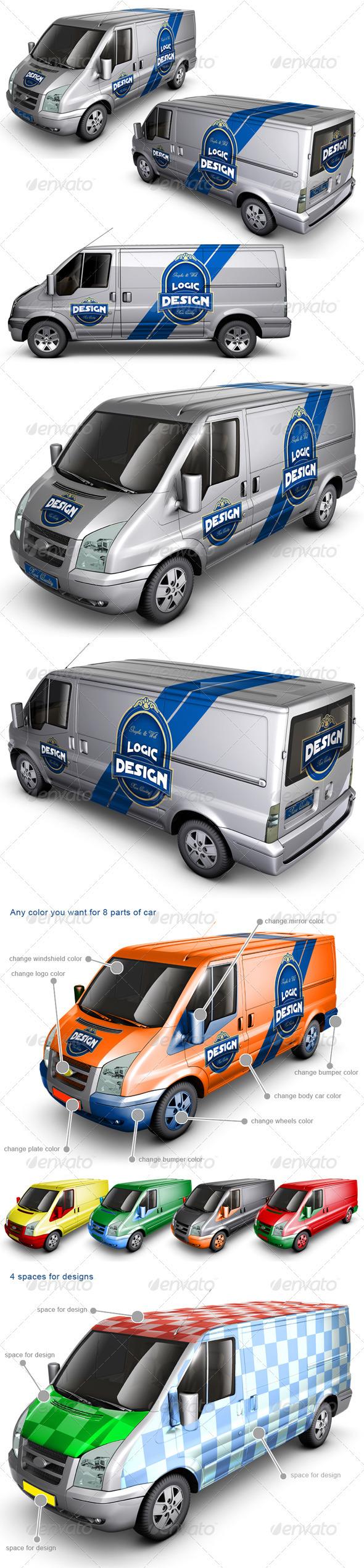 GraphicRiver Van Car Mock Up 2003023