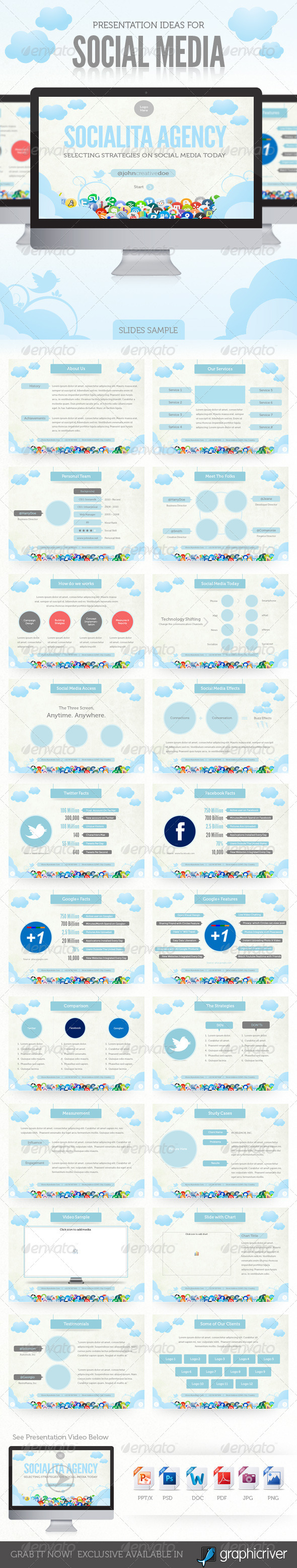 Social Media Presentation Template - Powerpoint Templates Presentation Templates
