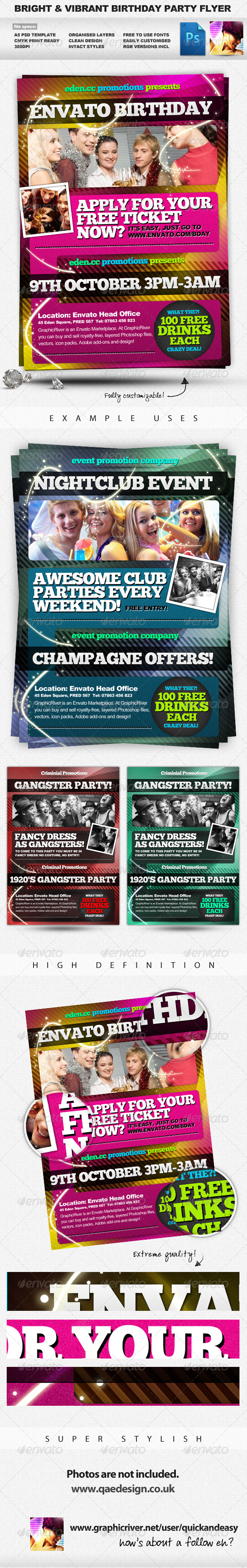 Bright, Vibrant & Energetic A5 Party Flyer - Clubs & Parties Events