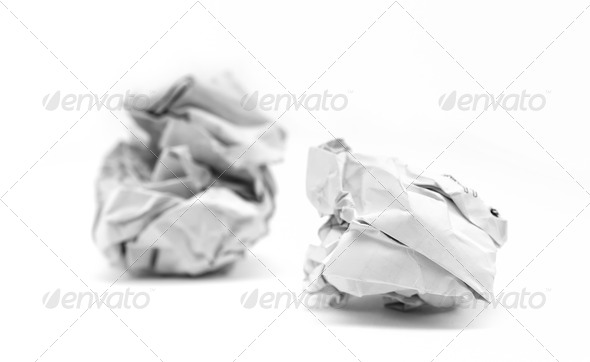 close-up of crumpled paper ball - Stock Photo - Images