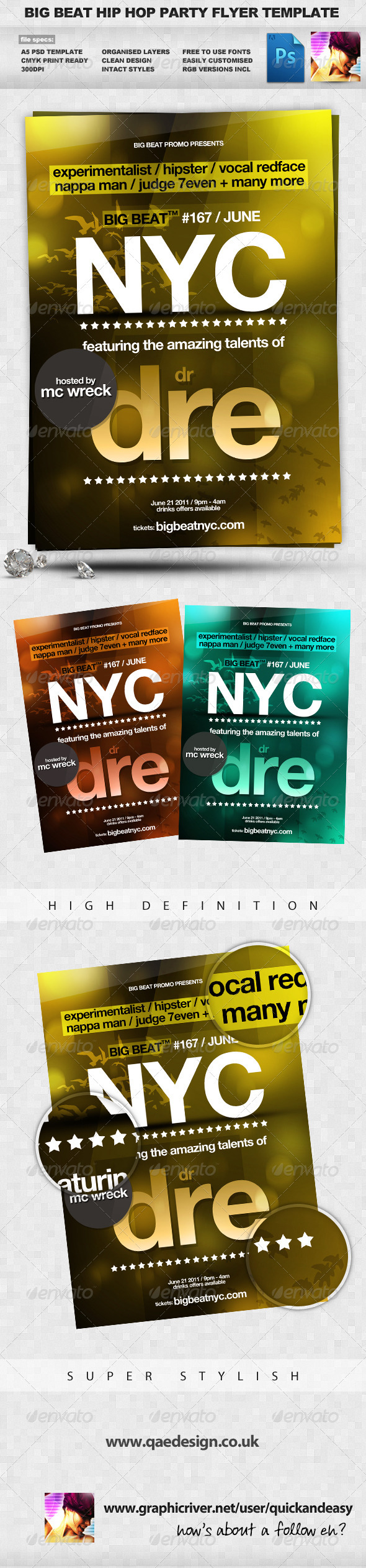 BigBeat Bold NYC Hip Hop A5 Flyer - Clubs & Parties Events