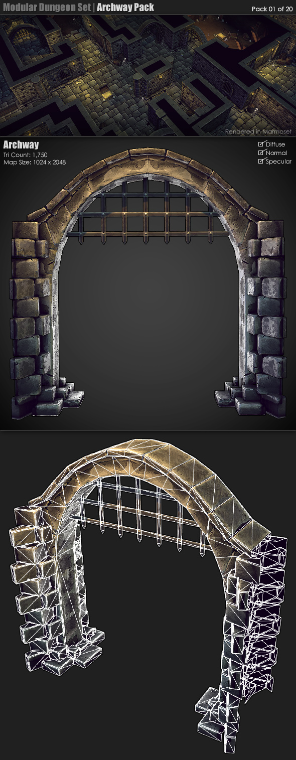 Modular Dungeon Set   Archway Pack (01 of 20) - 3DOcean Item for Sale