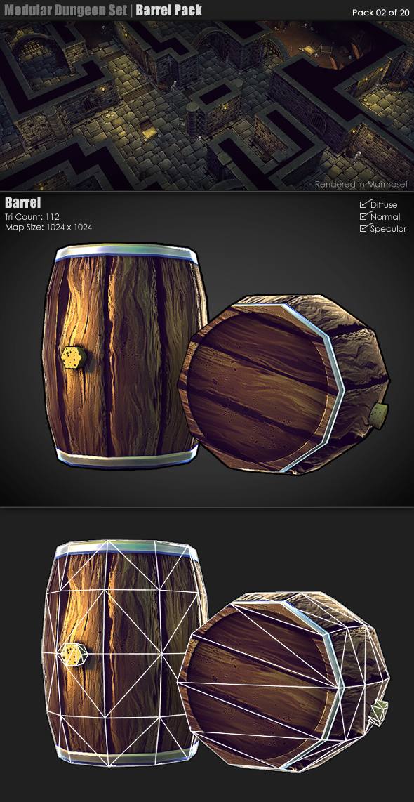 Modular Dungeon Set | Barrel Pack (02 of 20) - 3DOcean Item for Sale