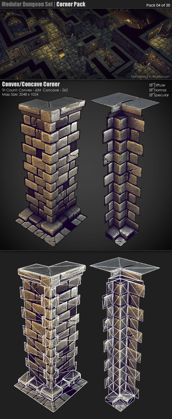 Modular Dungeon Set Corner Pack 04 of 20