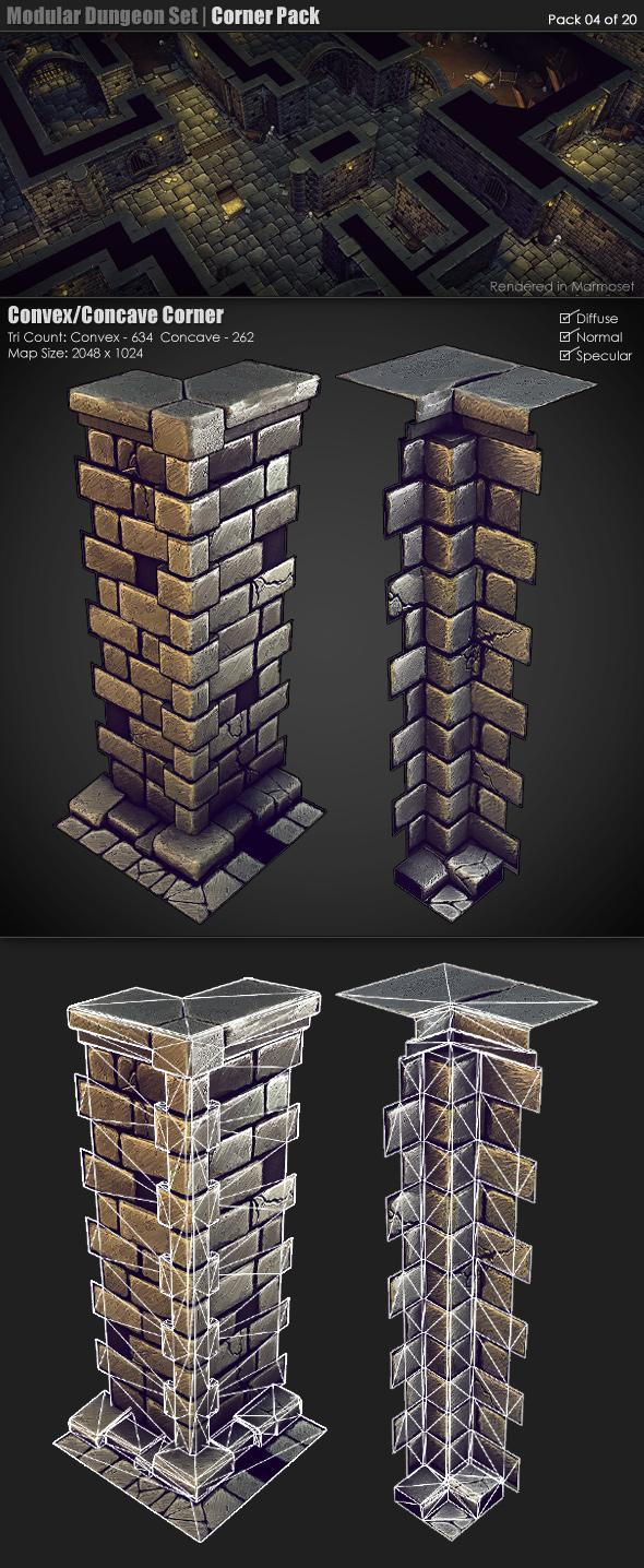 3DOcean Modular Dungeon Set Corner Pack 04 of 20 233350