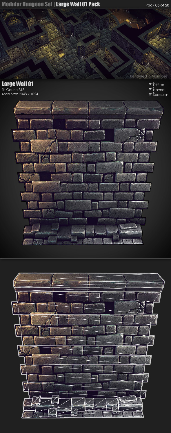 Modular Dungeon Set| Large Wall 01 Pack (05 of 20) - 3DOcean Item for Sale