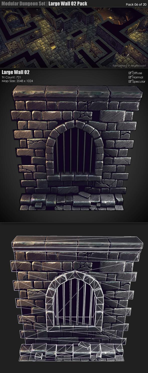 3DOcean Modular Dungeon Set Large Wall 02 Pack 06 of 20 233353