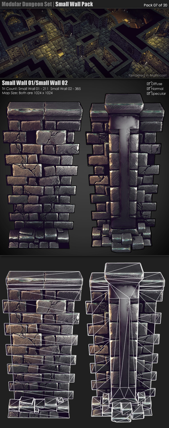 Modular Dungeon Set| Small Wall Pack (07 of 20) - 3DOcean Item for Sale