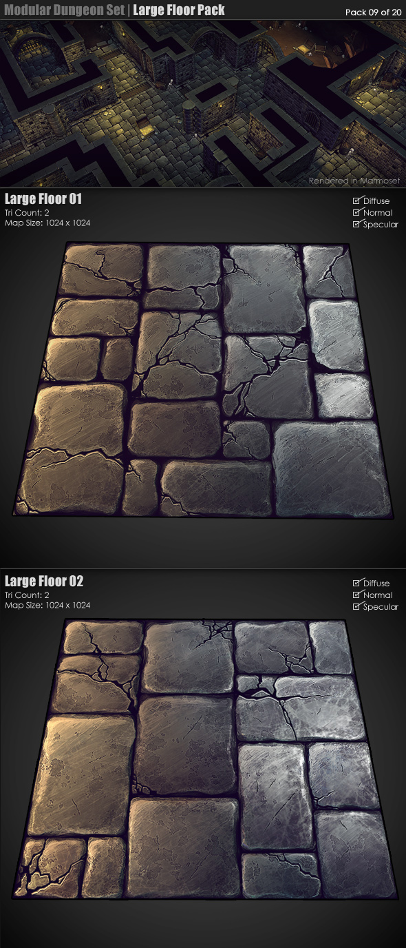 Modular Dungeon Set | Large Floor Pack (09 of 20) - 3DOcean Item for Sale