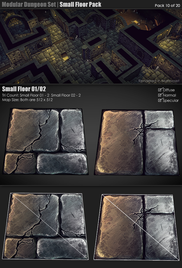 Modular Dungeon Set Small Floor Pack 10 of 20