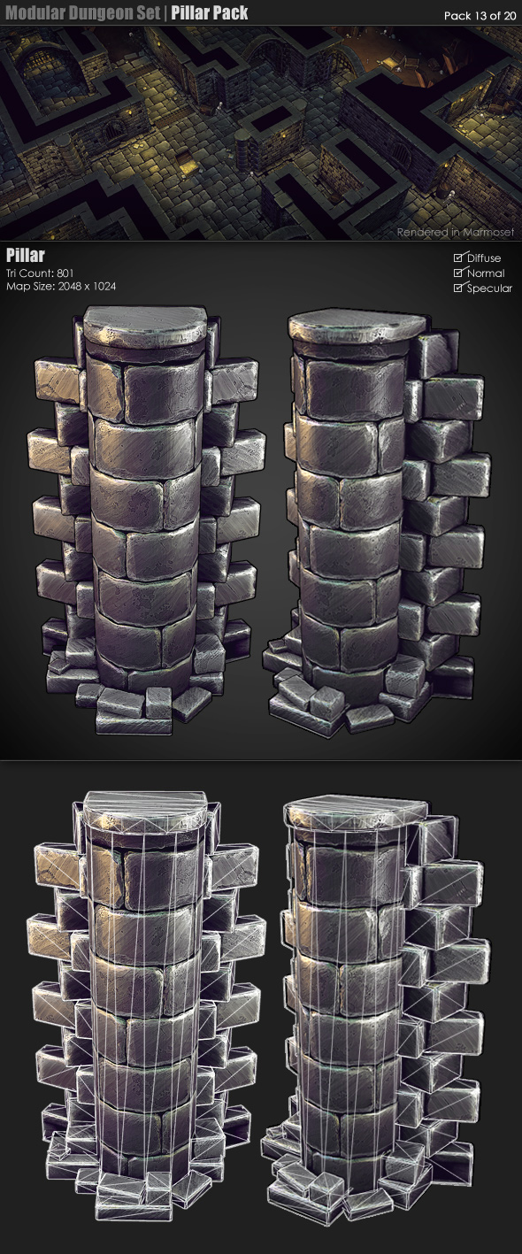 3DOcean Modular Dungeon Set Pillar Pack 13 of 20 233371