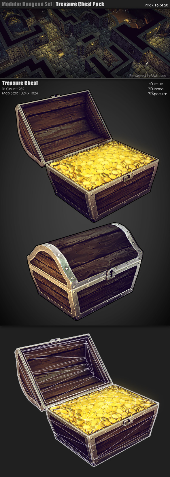 3DOcean Modular Dungeon Set Treasure Chest Pack 16 of 20 233377
