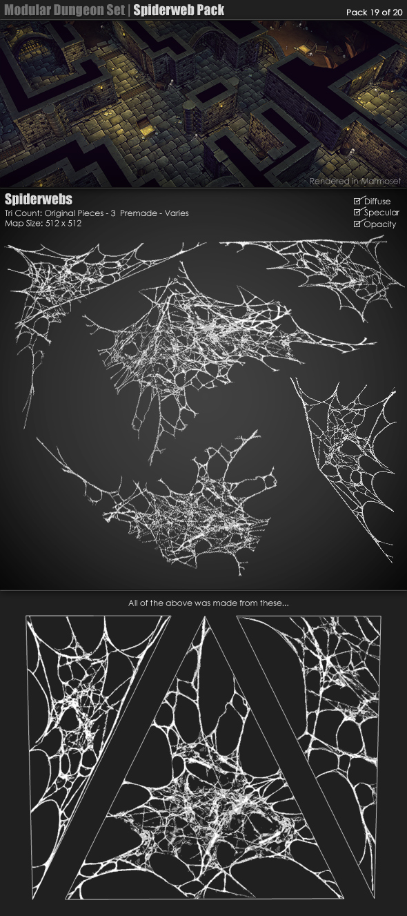 3DOcean Modular Dungeon Set Spiderweb Pack 19 of 20 233384