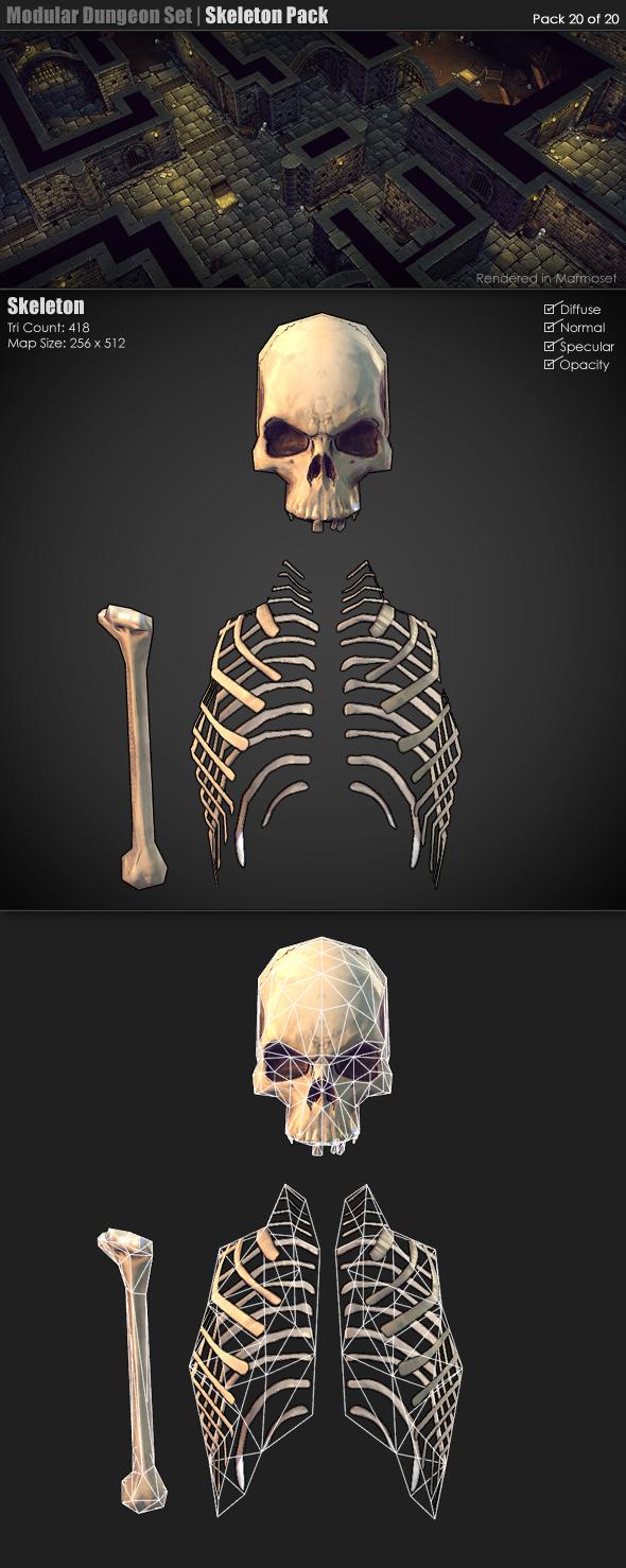 3DOcean Modular Dungeon Set Skeleton Pack 20 of 20 233387