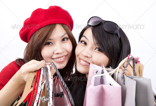 two asian shopping girl isolated on white background  - Stock Photo - Images