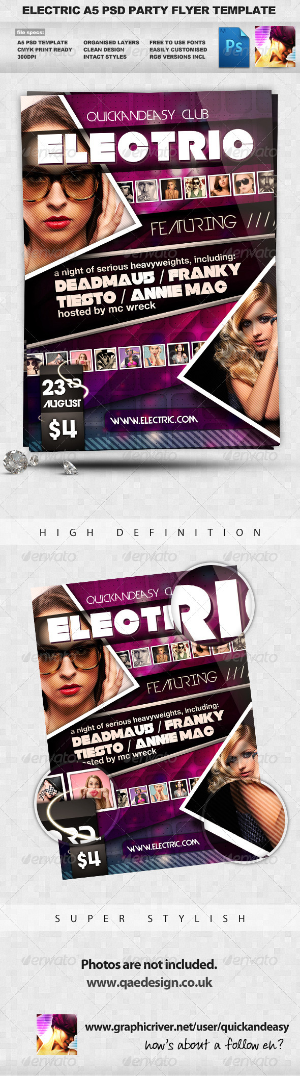Electric Night Club Dance A5 Flyer