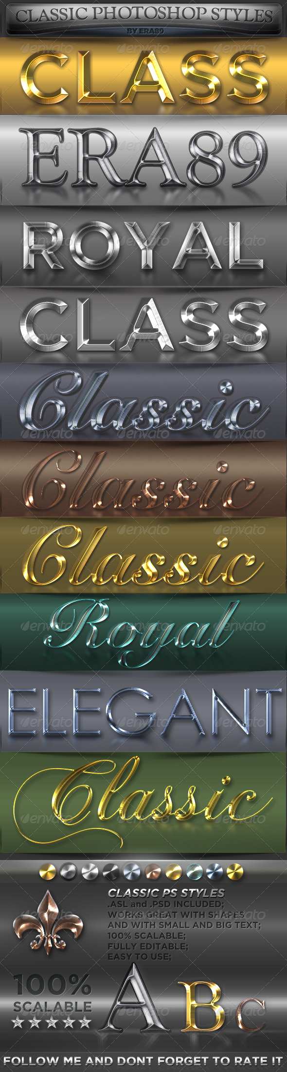 Classic Metal Photoshop Styles - Text Effects Styles