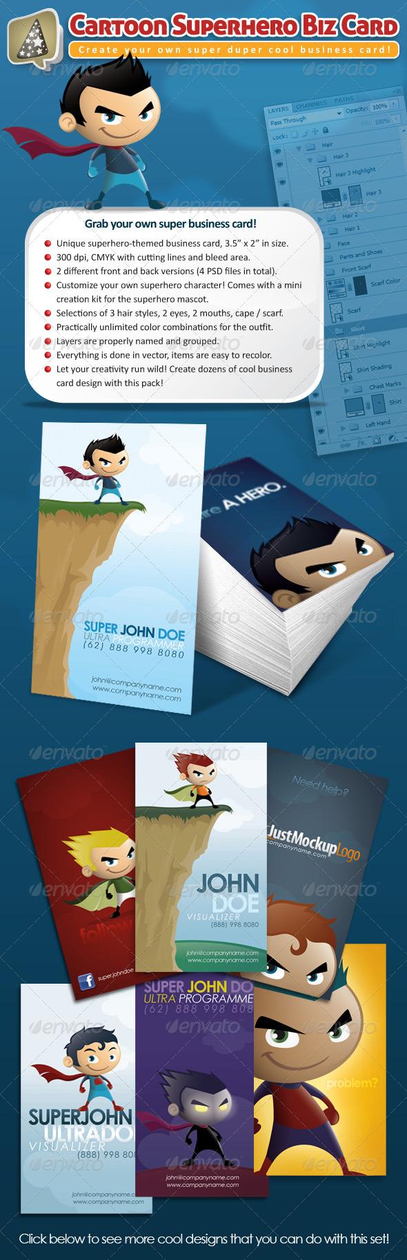 Cartoon Superhero Business Card Maker - Creative Business Cards