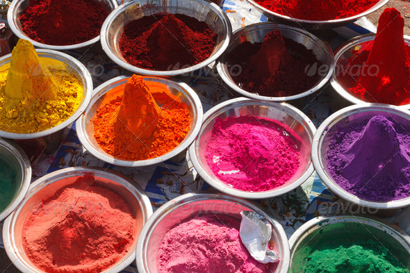Kumkum powder, India - Stock Photo - Images