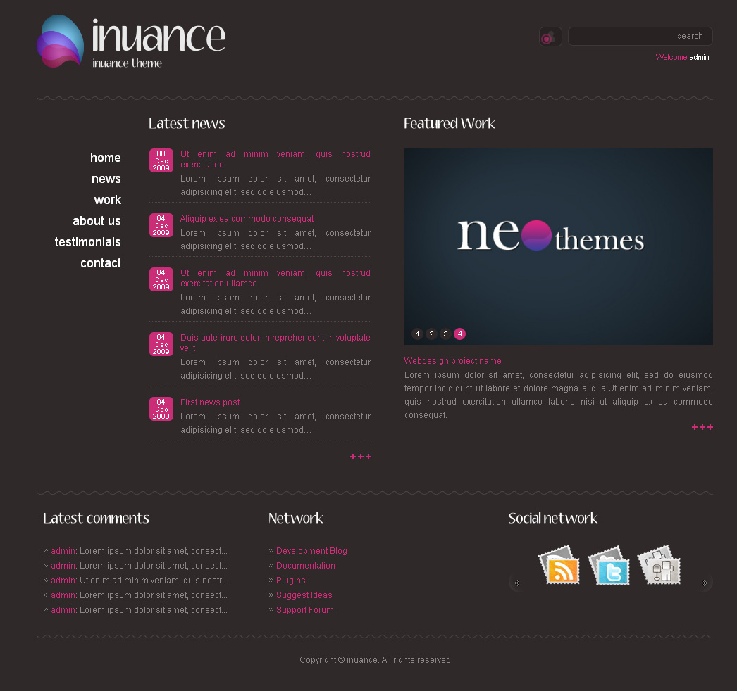 INUANCE - dark pink style theme