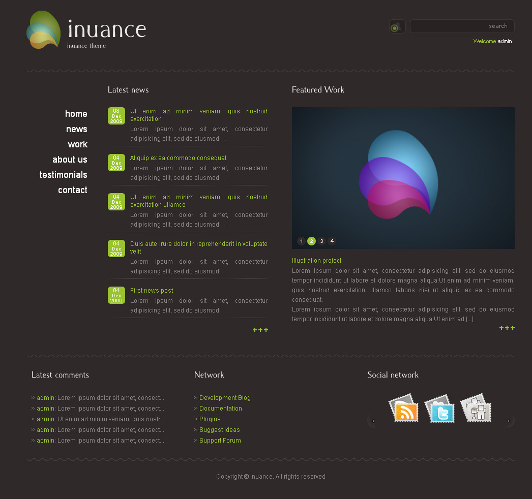 INUANCE - dark green style theme