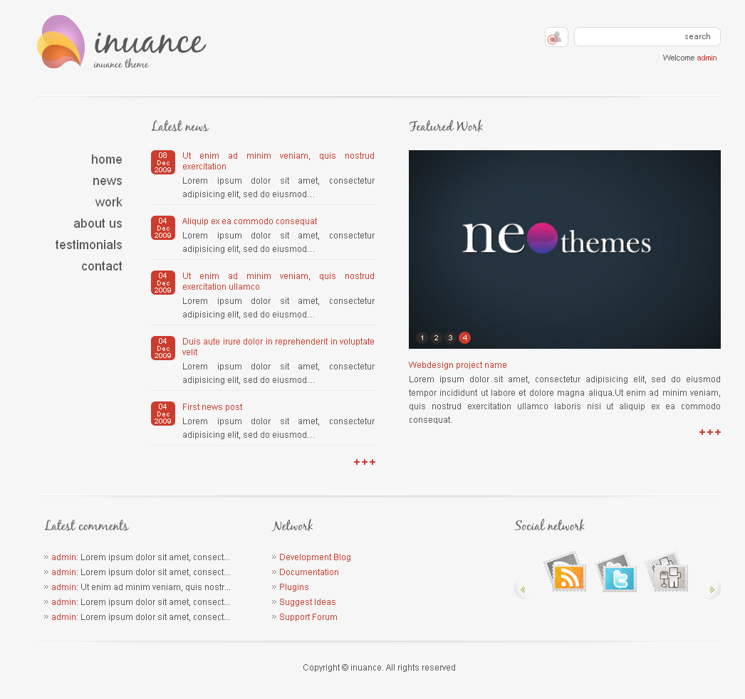 INUANCE - light red style theme