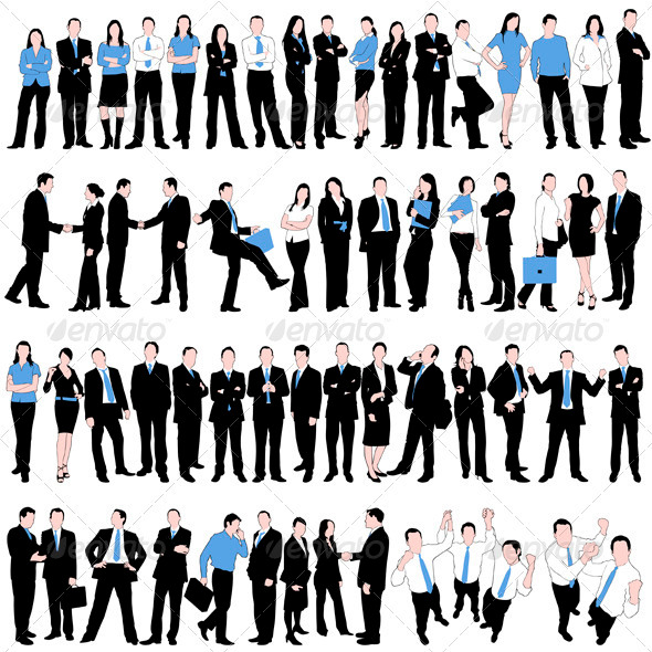 GraphicRiver 60 Business People Silhouettes Set 2011331