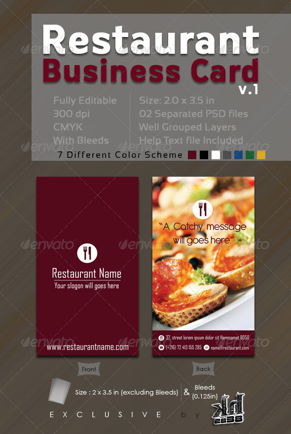 Restaurant business card v industry specific