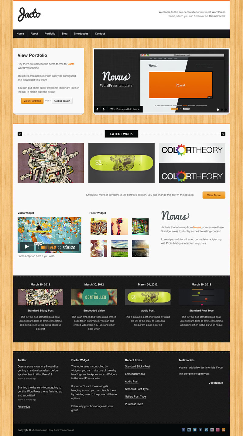 Jacto WordPress Portfolio - Home page with wood background
