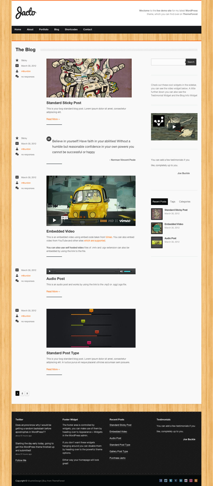 Jacto WordPress Portfolio - Blog page
