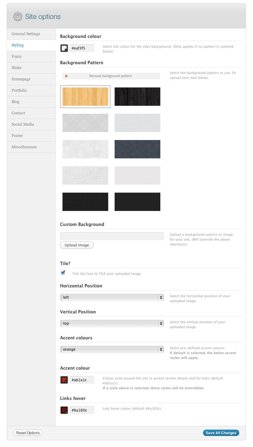 Jacto WordPress Portfolio - Options panel, showing some of the patterns available and how you can upload your own background