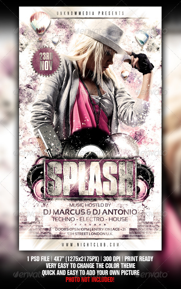 Grungy Splash Party Flyer Template - Clubs & Parties Events