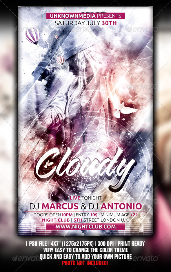 Cloudy Flyer Template Design - Clubs & Parties Events