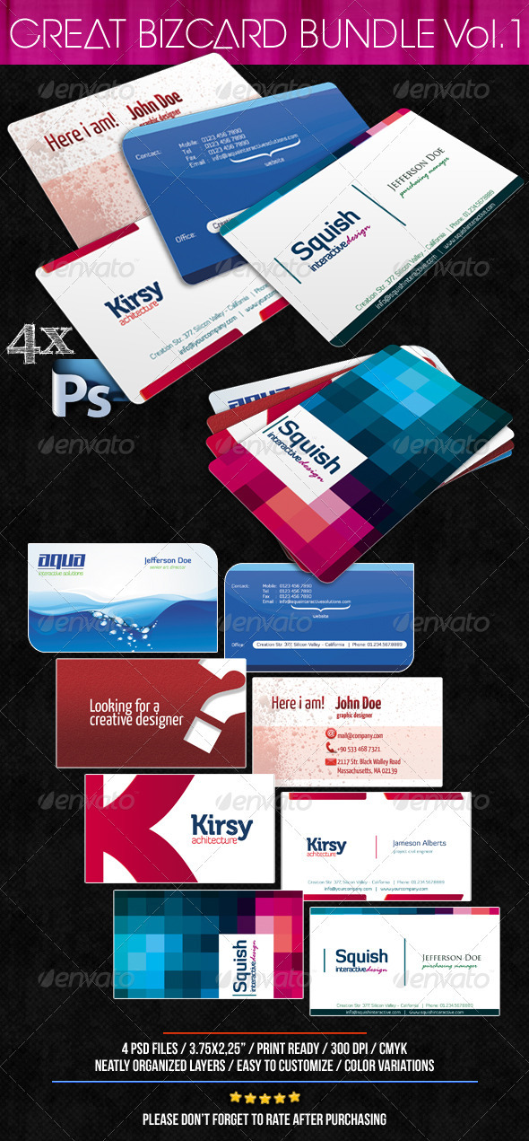 Great Business Card Bundle 4 in 1 Vol.1 - Corporate Business Cards