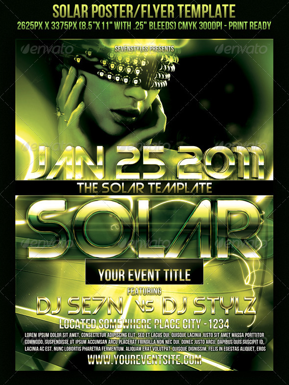 Solar Poster/Flyer Template - Clubs & Parties Events