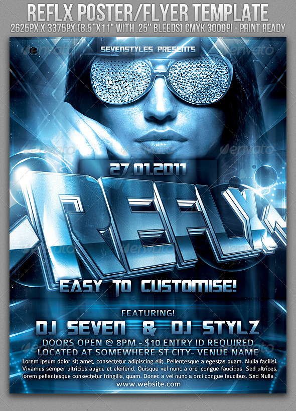 Reflx Poster/Flyer Template - Clubs & Parties Events