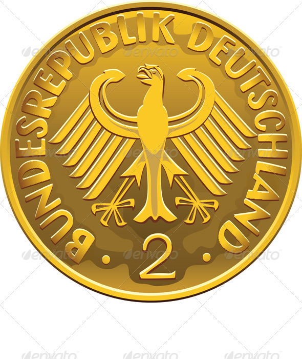 Vector Germany Money gold coin with eagle - Business Conceptual