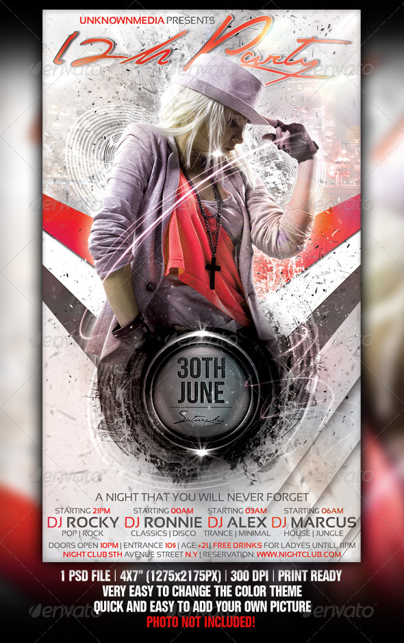 12h Party Flyer Template Design