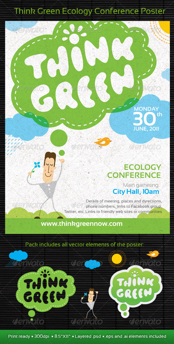 Think Green Ecology Conference Poster/Flyer Templa - Print Templates
